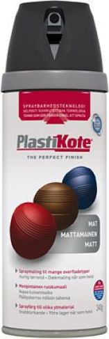 Plasti-kote sort mat 400ml spraymaling twist 23101 360223101 RAL 9005