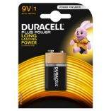 Duracell plus power batterier 9V 6LR61. Pakke med 1 stk.