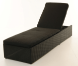 Lakeside lounger delux sort rattan m/hynde